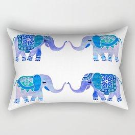 HAPPY ELEPHANTS - WATERCOLOR BLUE PALETTE Rectangular Pillow