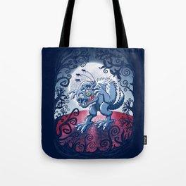 Werewolf Scratching Spooky Fleas Tote Bag