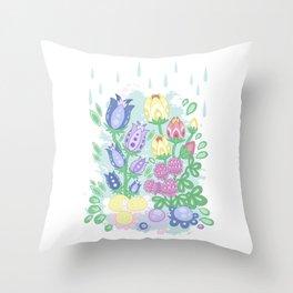 Meadow Flowers - Cartoon Flora no 2 Throw Pillow