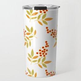 Natural Red White Berries Orange Leaves Flow Travel Mug