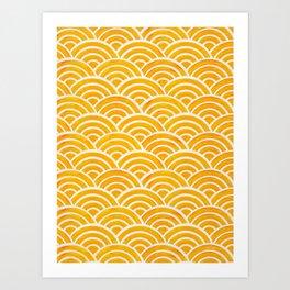 Japanese Seigaiha Wave – Marigold Palette Art Print