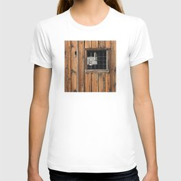 Rustic Cabin Window With Oil Lantern T-shirt