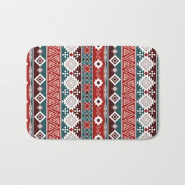 Colorful Aztec pattern with red. Bath Mat