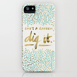 Dig It – Gold & Turquoise iPhone Case