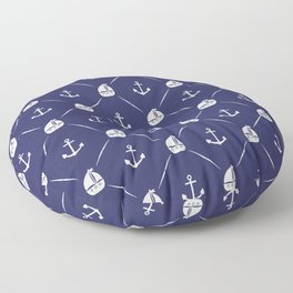 Retro Nautical Print Floor Pillow
