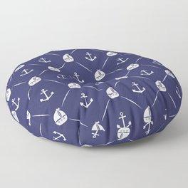 Retro Nautical Print Floor Pillow