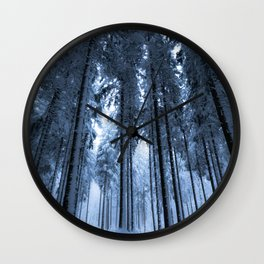 Snowy Winter Trees - Forest Nature Photography Wall Clock