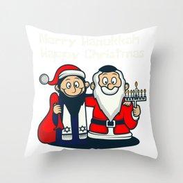 Happy Jewish Christmas Santa Fan And Jew Gift Throw Pillow