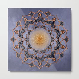 Orange Lotus Flower Mandala On A Textured Blue Background Metal Print