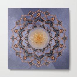 Orange Lotus Flower Mandala On A Textured Blue Background Metal Print