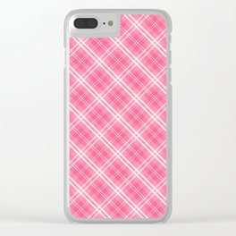 Midi Pink Valentine Sweetheart Tartan Plaid Check Clear iPhone Case