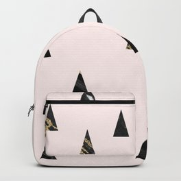 Elegant pink black gold abstract geometrical triangles marble Backpack