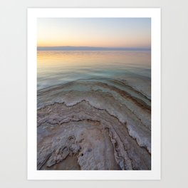 Pastel colours of a sunset in Jordan | Salt crystals of the Dead Sea Art Print