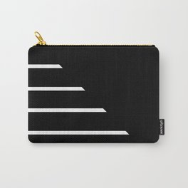 Half Stripes Black and White Carry-All Pouch