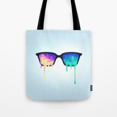 Psychedelic Nerd Glasses with Melting LSD/Trippy Color Triangles Tote Bag