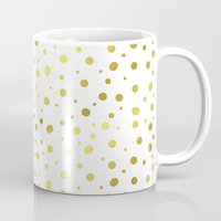 gold dots Mugs featuring Gold Dots by Laura Maria Designs