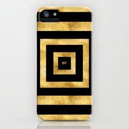 ART DECO SQUARES BLACK AND GOLD #minimal #art #design #kirovair #buyart #decor #home iPhone Case