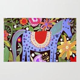 Folk art horse with flowers Rug