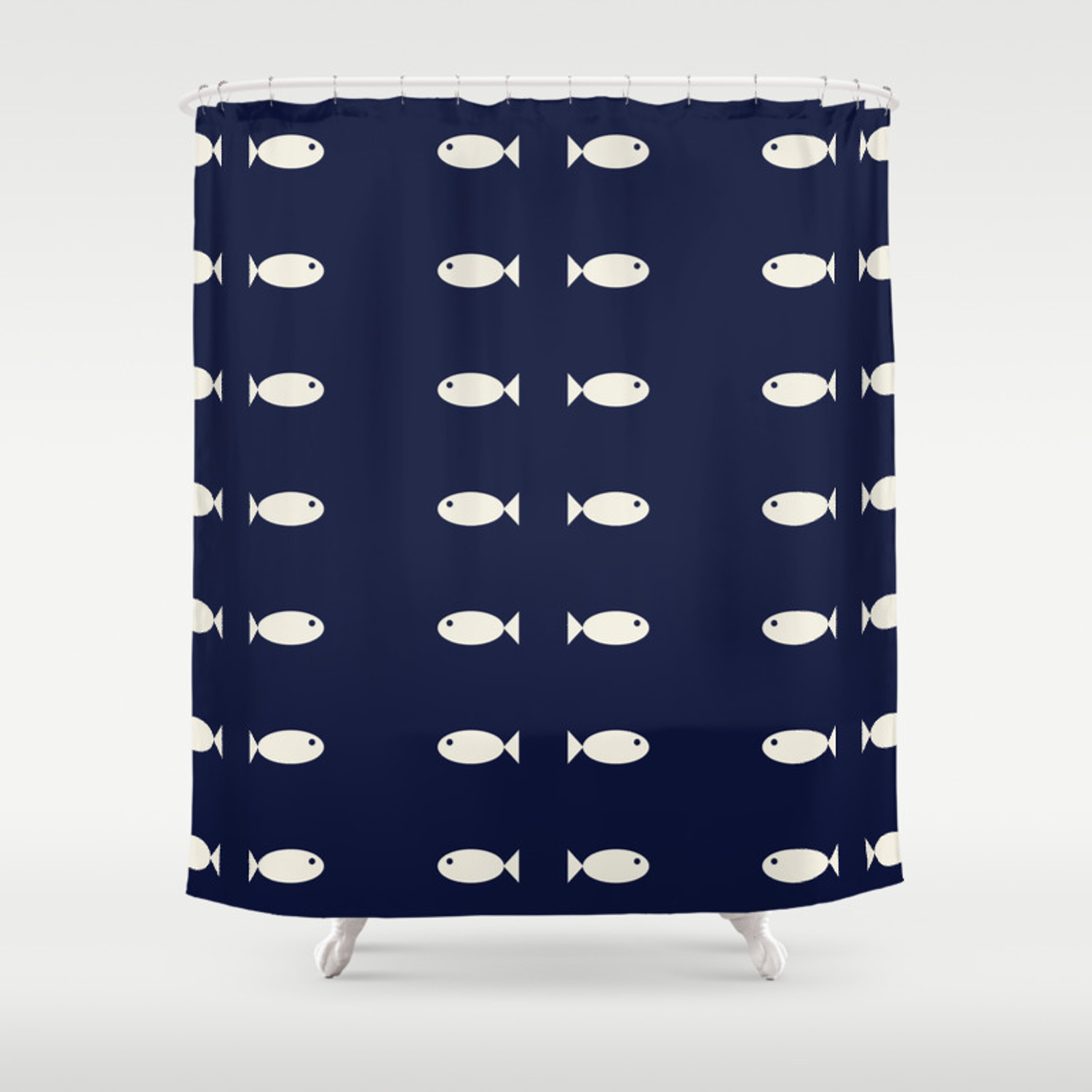 Fish Pattern Nautical Shower Curtain By Fourtyseven Society6