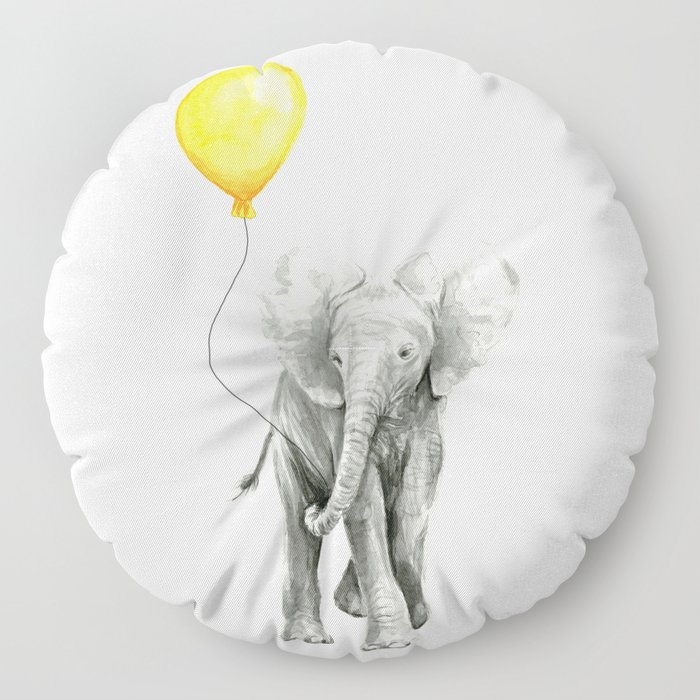 Elephant Watercolor Yellow Balloon Whimsical Baby Animals Floor Pillow