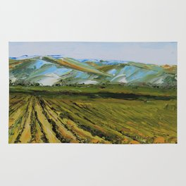 Colors of Napa Valley ll by Lisa Elley, Palette Knife Painting in oil. Rug