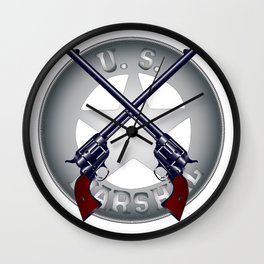 US Marshal Guns and Badge Wall Clock