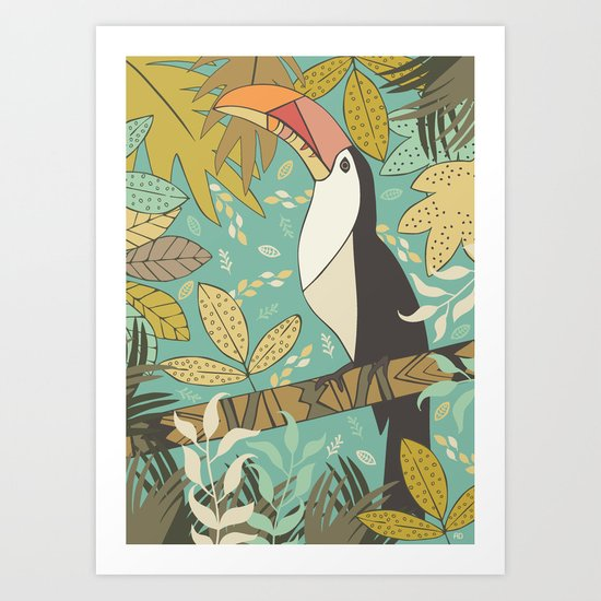 Forest Toucan  Art Print