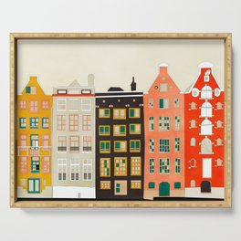 Travel europe city shape abstract art Serving Tray