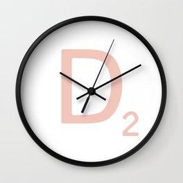 Pink Scrabble Letter D - Scrabble Tile Art Wall Clock
