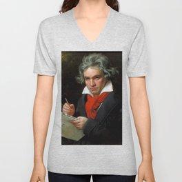 Ludwig van Beethoven (1770-1827) by Joseph Karl Stieler, 1820 Unisex V-Neck
