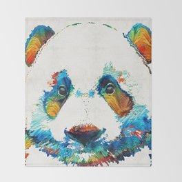 Colorful Panda Bear Art By Sharon Cummings Throw Blanket