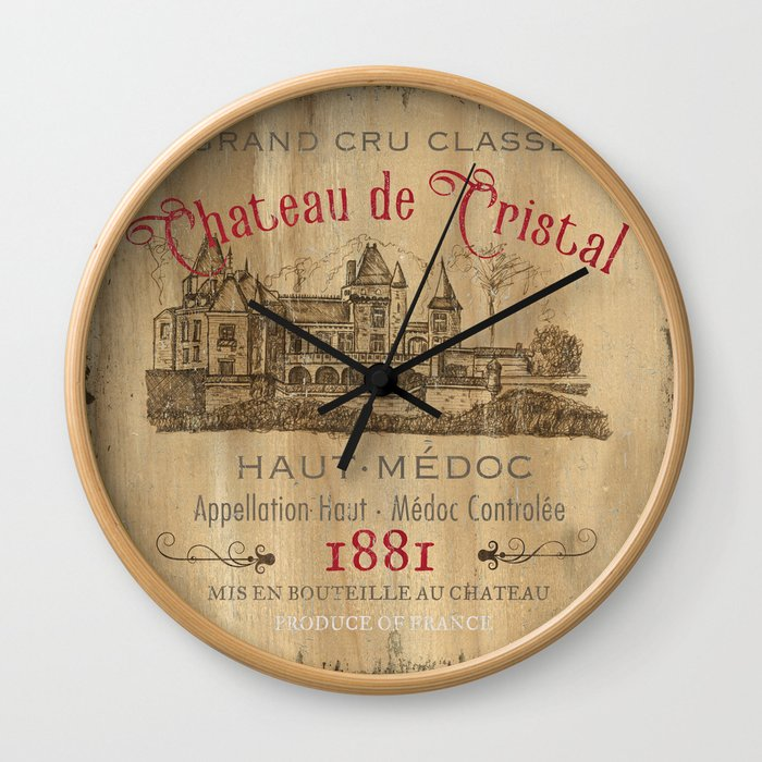 Barrel Wine Label 1 Wall Clock