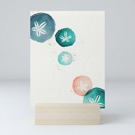Watercolour Sand Dollars - Teal & Coral Mini Art Print