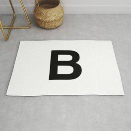 Letter B Initial Monogram Black on White Rug
