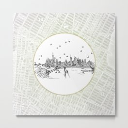 New York, New York City Skyline Illustration Drawing Metal Print