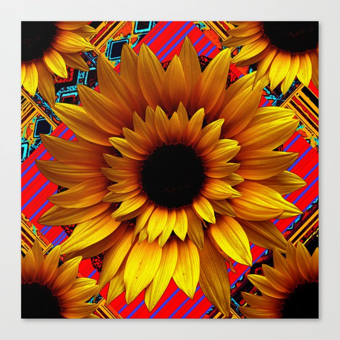 Antique Golden Sunflower Red Modern Art Canvas Print By Sharlesart
