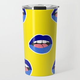 blue lips Travel Mug