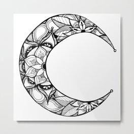 Henna Moon Metal Print