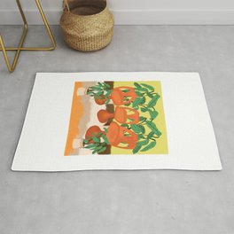 Groovy Orange Chairs and Plants Rug