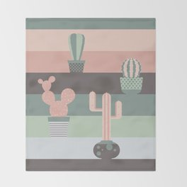 cacti colors Throw Blanket