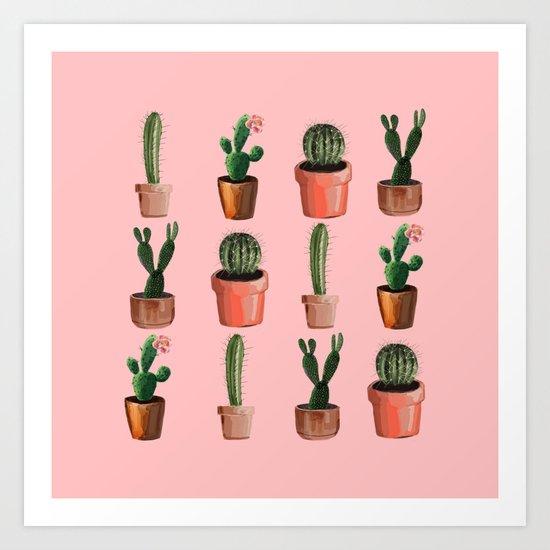 Various Cacti Pink Art Print