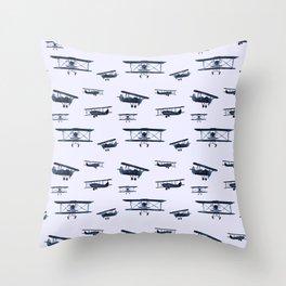 Retro airplanes #2 || watercolor Throw Pillow