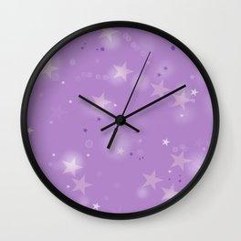 Purple Stars in the Night Sky Wall Clock