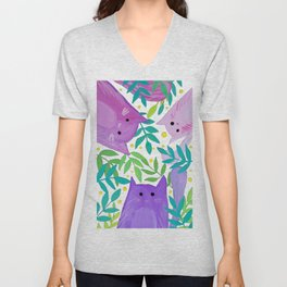 Cats and branches - purple and green Unisex V-Neck