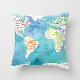 worldmap continents and oceans Throw Pillow