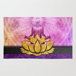 Crown Chakra Meditation & Gold Metallic Lotus Rug