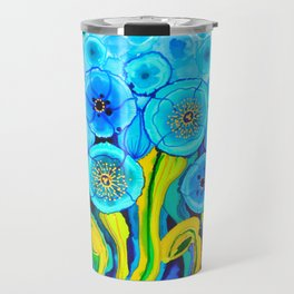 Field of Blue Poppies with Top and Bottom Border Belize Travel Mug