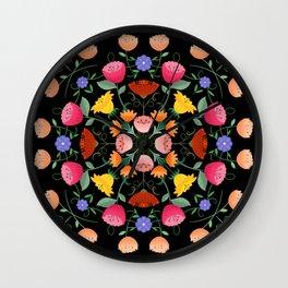 Folk Art Inspired Garden Of Fantastic Floral Delight Wall Clock