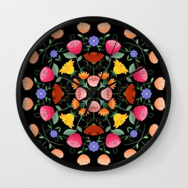 Folk Art Inspired Garden Of Fantastic Floral Delight Wall Clock