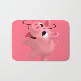 Rosa the Pig is crazy Bath Mat